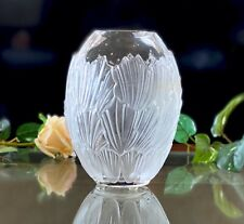"Lalique French Crystal Sandrift Vase No Damage Signed Authentic 8"" Tall"