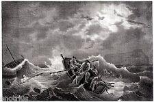 IL BATTELLIERE DI NISIDA. Napoli. Regno delle Due Sicilie. Stampa Antica. 1844