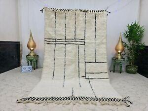"Handmade Moroccan Beni Ourain Rug 5'1""x8'5"" Abstract Berber White Black Carpet"