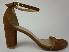 Stuart Weitzman NearlyNude Ankle Strap Sandal Brown Suede Size 10 M