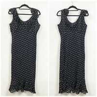 Evan Picone 14 Womens Black Polka Dot Ruffle Sleeveless Trumpet Midi Dress