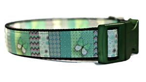 Green Patchword butterfly Adjustable Handmade Dog Collar Girl Medium Large