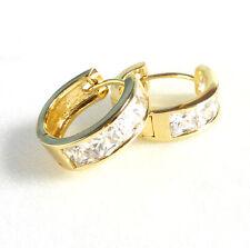 Unisex Huggie Hoop Earrings Simulated Diamond 14K Yellow Gold Plated 16mm UK