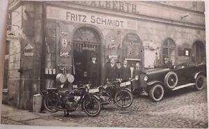Orig. Foto Laden Fritz Schmidt Motorräder Oldtimer Emailschilder Mobiloil 1926