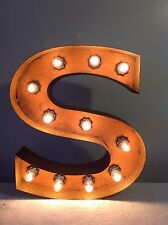 "New Rustic Metal Letter S Light Marquee: Sign Wall Decoration 12"" Vintage"