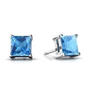 14Kt White Gold Blue Topaz Princess Cut Stud Earrings