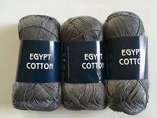 LOT of 3 Feza Egypt Cotton Grey 100% Mercerized Cotton Laceweight Yarn