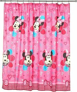 Minnie Mouse Pink Girl's Cartoon Cute Washable Fabric Shower Curtain