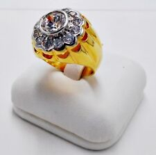 MEN RING WHITE SAPPHIRE CZ 18K 24K YELLOW GOLD FILLED GP PRESIDENT SUN DOME # 9