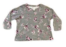 Croft & Barrow Women's Plus Top Sz 2X Gray Pink Floral Long Sleeved EUC