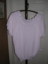 Adele Knitware Sleeveless Knit Top, Classic Kneck Line  - White XL