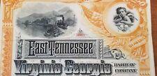 1886 East Tennessee Virginia & Georgia Railway Company Bond Stock Certificate