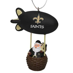 New Orleans Saints Christmas Tree Holiday Ornament New - Team Logo Santa Blimp