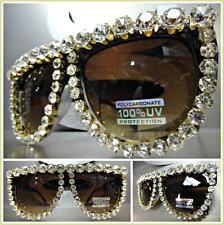 OVERSIZED VINTAGE RETRO Style MODELING SUN GLASSES Huge Crystals Stones Handmade