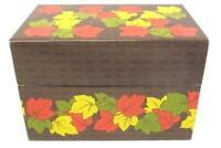 Vintage Syndicate Mfg Recipe Box Metal Autumn Leaves Brown Red Green Yellow