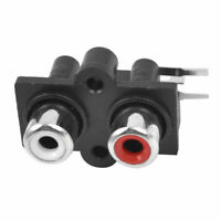 Right Angle 2 RCA Jack Audio Video AV Socket Connector Black