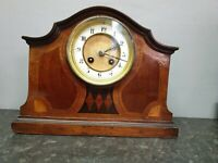 Edwardian Mantle Clock with drumhead Movement, Spares or Repair