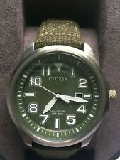 CITIZEN ECO DRIVE MENS WATCH STAINLESS STEEL GREEN STRAP AW1410-32X 200m WR