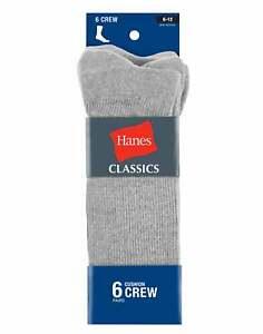 Hanes Mens Crew Sock 6-Pack Classics Comfort Blend FreshIQ Black Grey White 6-12