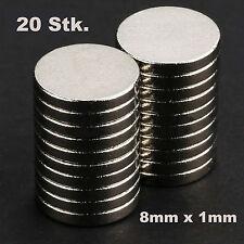 20 Stk. extra starke Neodym Magnete 8 x 1 mm runde Scheiben  8mm x 1mm - N52
