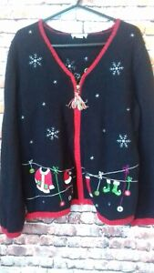 vintage christopher and bank christmas cardigan size large armpit to armpit 19 i