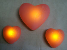 Flambiance LED Herzen 3teilig Echtwachs mit Timer Farbe Rose inkl.Batterien