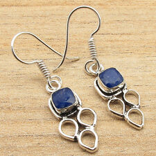 Earrings, Silver Plated Jewelry Simulated Sapphire Precious Gemstone