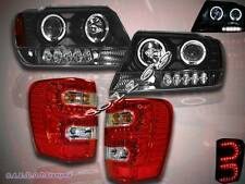 1999-04 JEEP GRAND CHEROKEE HALO PROJECTOR BLACK HEADLIGHTS LED +TAIL LIGHTS LED