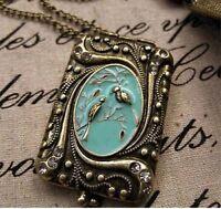 BIG RETRO BIRD PENDANT locket NECKLACE long chain VINTAGE BRASS antique gold plt