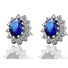Lusso Reale Blu Scuro Zaffiro Zircone Regina Design Orecchini A Perno E505