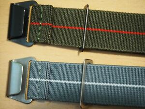 French NATO Nylon One piece Stretch Watch Strap Band 20mm 22mm with bars & tool