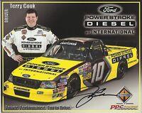 Terry Cook Original Autographed 8x10 Signed NASCAR Truck Racing Hero Card