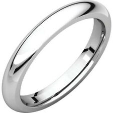 3mm 18K Solid White Gold Plain Dome Half Round Comfort Fit Wedding Band Ring