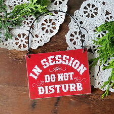 IN SESSION Do Not Disturb * Red Room MINI SIGN * (Fits over Doorknob) DecoWords