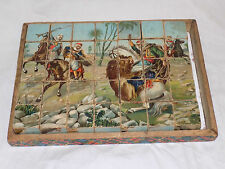 Antique Wooden BLOCK PUZZLE German 1900 Hunting Scenes American Indian Wild West