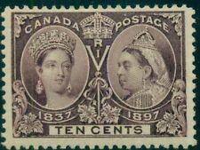 CANADA #57 10¢ brown violet, og, hinged, VF, Scott $115