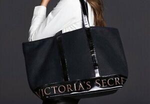 VICTORIA'S SECRET Weekender Black Mesh Large Tote Beach Gym Overnight Bag NWT