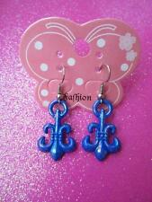 Dark Blue Fleur-de-lis Dangle Earrings