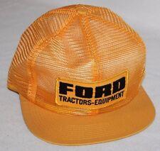 RARE FORD Tractors Equipment Logo Patch Mesh Snapback Trucker Hat Cap Yellow