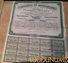 Companhia de Mossamedes – Lisbonne Décembre 1897 Titre de 5 Actions