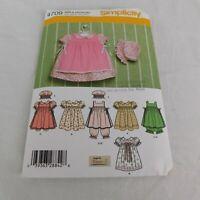 Simplicity 4709 Sewing Pattern Babies Dress Pinafore Pantaloons Size Newborn-18m