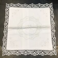 """Vintage Shabby Chic Cotton White Embroidered Lace Design Cushion Cover 12x12"""""""