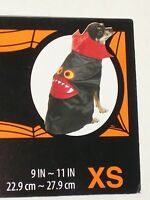 "Dog Vampire Satin Cape Pet Halloween Costume Black Red Fangs Size XS 9"" - 11"""