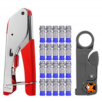 Coax Cable Crimper, Coaxial Compression Tool Kit Wire Stripper with F RG6 RG59