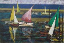 Rafael DAROCA (né 1927) huile sur toile 1960 scène de port bateaux