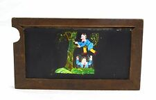 Mid 1800s Hand Painted Glass Magic Slide in Cedar Boy Falling Out of Tree LAYBY