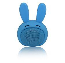 AEO Mini Bluetooth Speaker Cute Bunny Design with Squishy Ears (Denim Blue)