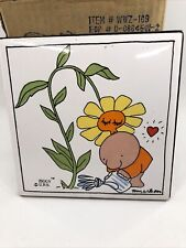 New Vintage Ziggy Tile Plant Kissing While Being Watered Desk Stand or Hang