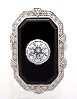 ONYX  & Cz   Ring   925er Silber   ART DECO Ring   # 54