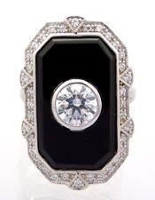 Onyx Zirconia Anello preziose misura 57 ARGENTO 925 STERLING ARGENTO ART DECO anello